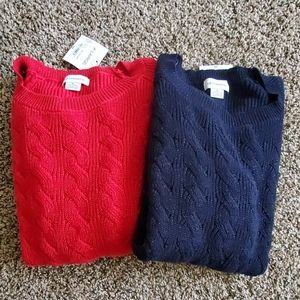 Lot of 2 LIZ Claiborne Sweaters XL Red and Navy
